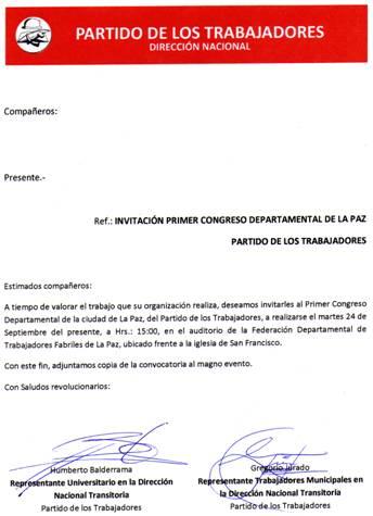 Invitacion PT La Paz