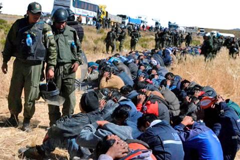 mineros represión